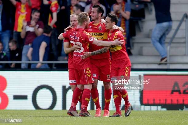 Jeff Stans of Go Ahead Eagles Jaroslav Navratil of Go Ahead Eagles celebrate goal during the Dutch Keuken Kampioen Divisie match between Go Ahead...