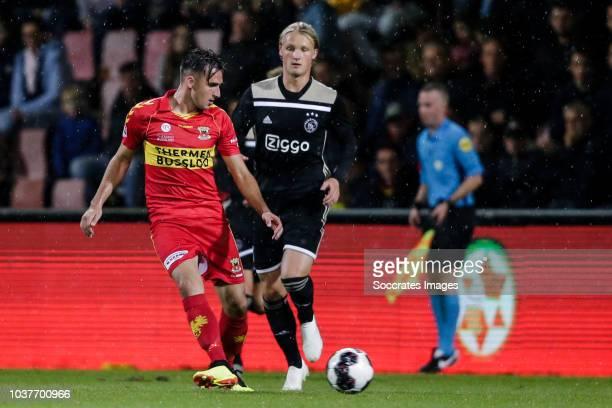Jeff Stans of Go Ahead Eagles Kasper Dolberg of Ajax U23 during the Dutch Keuken Kampioen Divisie match between Go Ahead Eagles v Ajax U23 at the De...