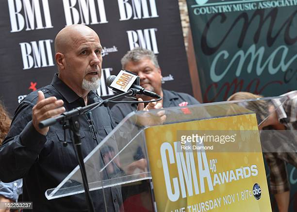 Jeff Stevens Producer addresses the crowd during the BMI ASCAP CMA Party For Drunk On You Performed By Luke Bryan CoWriters Rodney Clawson Josh Kerr...