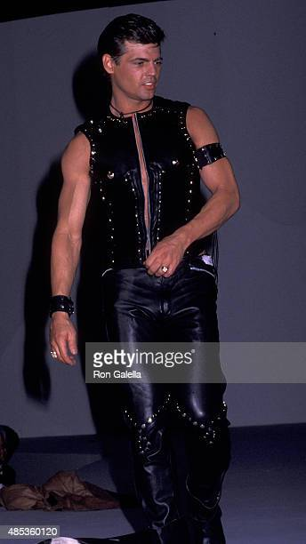 Jeff Stryker attends T. Mugler AIDS Project Fashion Show on April 23, 1992 at the Century Plaza Hotel in Century City, California.