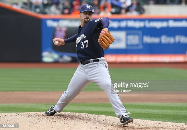 Jeff Suppan of the Milwaukee Brewers pitches against the New York Mets at Citi Field on April 19 2009 in the Flushing neighborhood of the Queens...