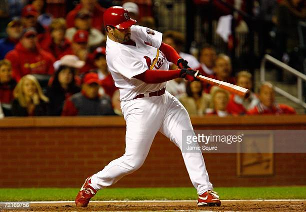 Jeff Suppan of the St. Louis Cardinals bats in the second inning against the New York Mets during game three of the NLCS at Busch Stadium on October...