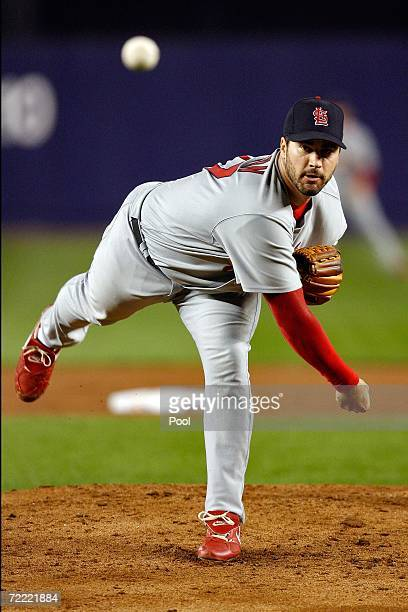 Jeff Suppan of the St. Louis Cardinals pitches against the New York Mets during game seven of the NLCS at Shea Stadium on October 19, 2006 in the...
