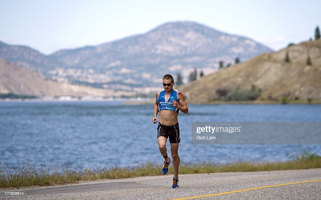 Jeff Symonds on the run course during the Challenge Penticton Triathlon on August 25, 2013 in Penticton, British Columbia, Canada.