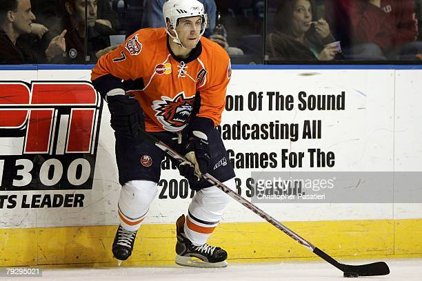 Jeff Tambellini of the Bridgeport Sound Tigers controls the puck during the second period against the Philadelphia Phantoms on January 23, 2008 at...