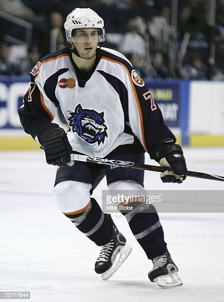 Jeff Tambellini of the Bridgeport Sound Tigers skates against the Worchester Sharks at the Arena at Harbor Yard on November 12 2006 in Bridgeport...