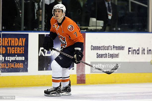 Jeff Tambellini of the Bridgeport Sound Tigers skates during the second period against the Philadelphia Phantoms on January 23, 2008 at the Arena at...
