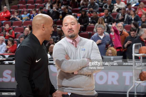 Jeff Tanaka trainer of the Chicago Bulls before the game against the Denver Nuggets on March 21 2018 at the United Center in Chicago Illinois NOTE TO...