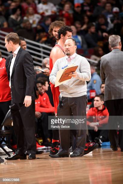 Jeff Tanaka trainer of the Chicago Bulls during the game against the Denver Nuggets on March 21 2018 at the United Center in Chicago Illinois NOTE TO...
