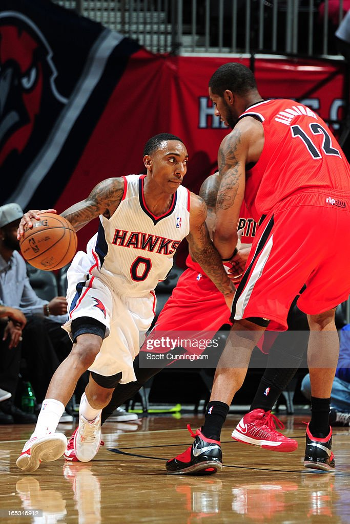 Jeff Teague #0 of the Atlanta Hawks drives to the basket against the Portland Trail Blazers on March 22, 2013 at Philips Arena in Atlanta, Georgia.