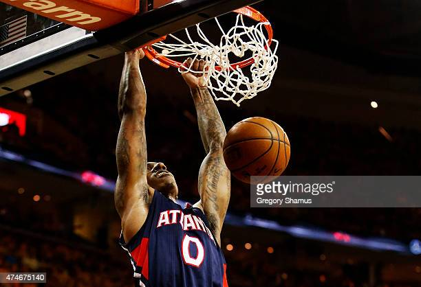 Jeff Teague of the Atlanta Hawks dunks against the Cleveland Cavaliers in the second quarter during Game Three of the Eastern Conference Finals of...