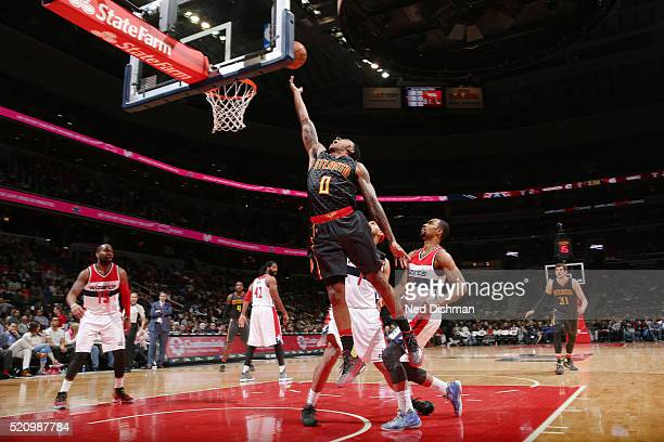 Jeff Teague of the Atlanta Hawks goes for the layup against the Washington Wizards during the game on April 13 2016 at Verizon Center in Washington...