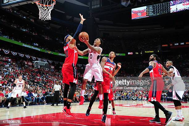 Jeff Teague of the Atlanta Hawks goes to the basket against Drew Gooden of the Washington Wizards in Game Five of the Eastern Conference Semifinals...