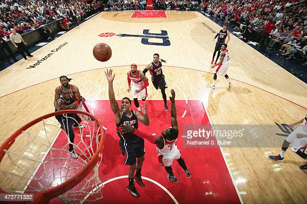 Jeff Teague of the Atlanta Hawks goes up for a shot against the Washington Wizards in Game Three of the Eastern Conference Semifinals of the 2015 NBA...