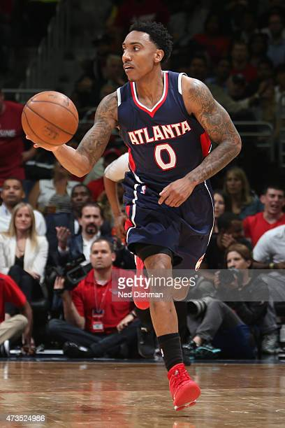 Jeff Teague of the Atlanta Hawks handles the ball against the Washington Wizards in Game Six of the Eastern Conference Semifinals of the 2015 NBA...