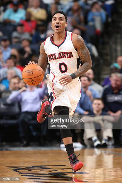 Jeff Teague of the Atlanta Hawks handles the ball against the Memphis Grizzlies on February 8 2015 at FedExForum in Memphis Tennessee NOTE TO USER...
