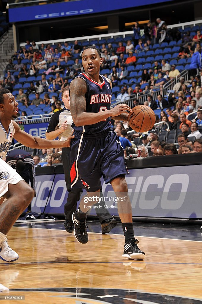 Jeff Teague #0 of the Atlanta Hawks handles the ball against the Orlando Magic on February 13, 2013 at Amway Center in Orlando, Florida.