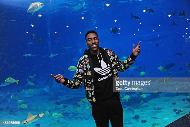 Jeff Teague of the Atlanta Hawks poses for a photograph at the Georgia Aquarium on January 20 2015 in Atlanta Georgia NOTE TO USER User expressly...