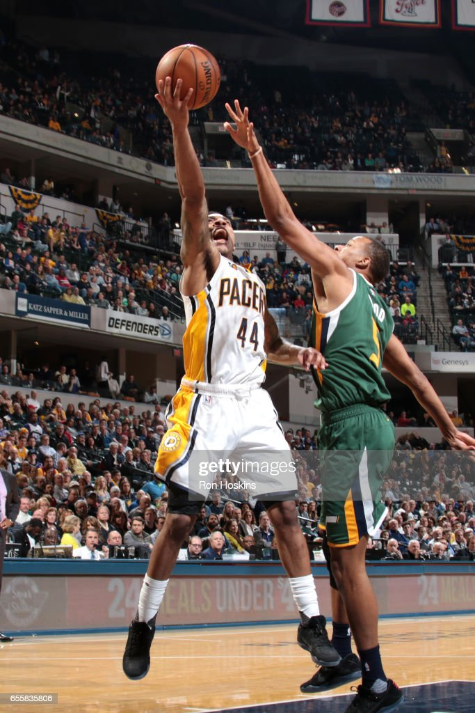 Jeff Teague #44 of the Indiana Pacers goes to the basket against the Utah Jazz on March 20, 2017 at Bankers Life Fieldhouse in Indianapolis, Indiana.