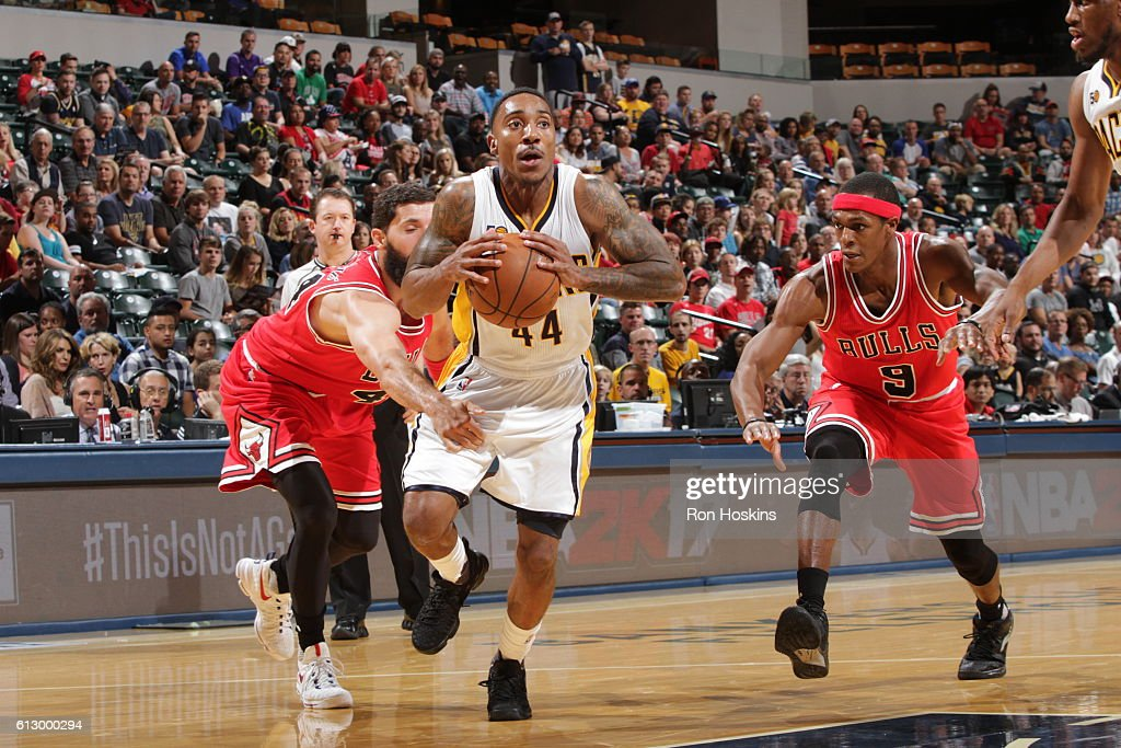 Chicago bulls v indiana pacers jeff teague 44 of the indiana pacers handles the ball against the chicago bulls during voltagebd Choice Image