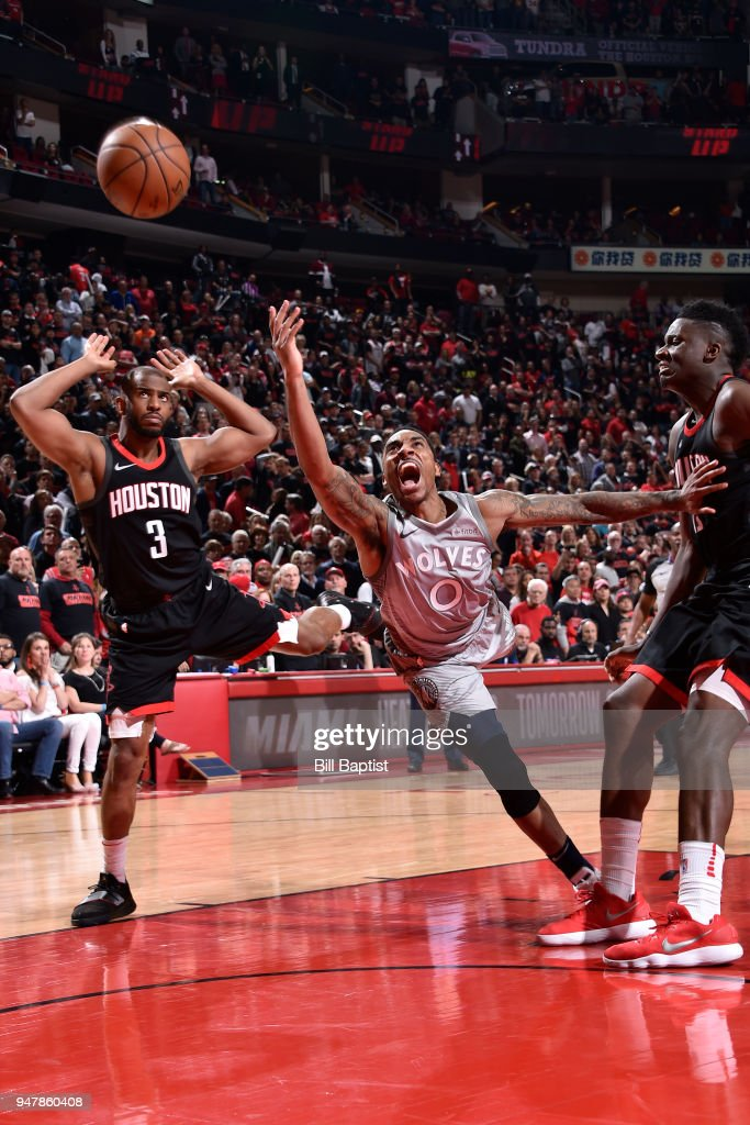 Jeff Teague #0 of the Minnesota Timberwolves attempts a shot during the game against the Houston Rockets in Game One of Round One of the 2018 NBA Playoffs on April 15, 2018 at the Toyota Center in Houston, Texas.