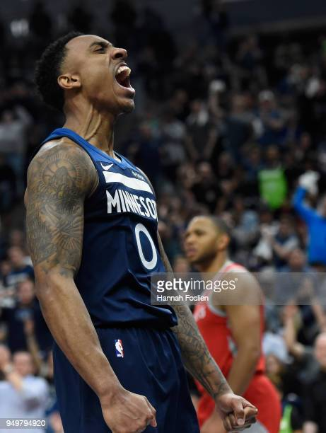 Jeff Teague of the Minnesota Timberwolves celebrates being fouled while shooing the ball against the Houston Rockets during the fourth quarter in...