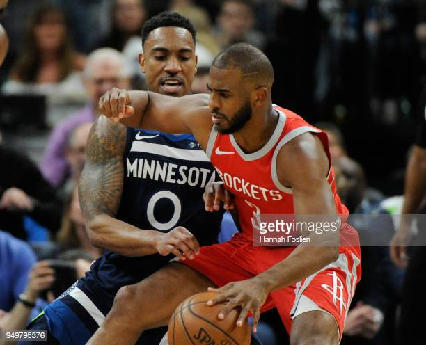 Jeff Teague of the Minnesota Timberwolves defends against Chris Paul of the Houston Rockets during the fourth quarter in Game Three of Round One of...