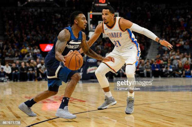 Jeff Teague of the Minnesota Timberwolves drives to the basket against Andre Roberson of the Oklahoma City Thunder during the game on October 27 2017...