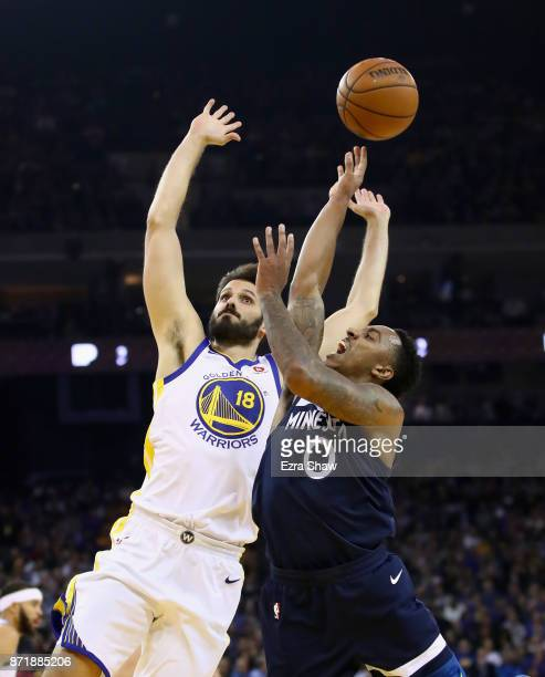 Jeff Teague of the Minnesota Timberwolves goes up for a shot against Omri Casspi of the Golden State Warriors at ORACLE Arena on November 8 2017 in...