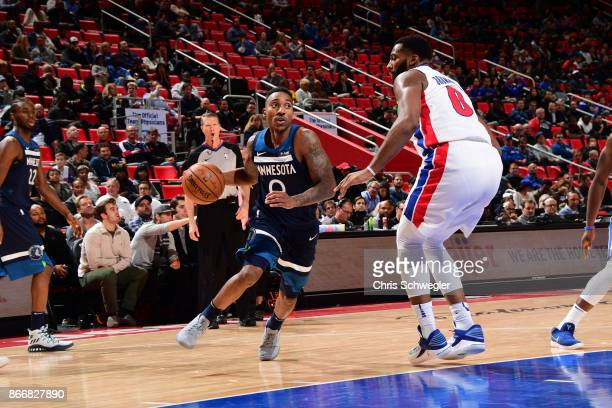 Jeff Teague of the Minnesota Timberwolves handles the ball against the Detroit Pistons on October 25 2017 at Little Caesars Arena in Detroit Michigan...