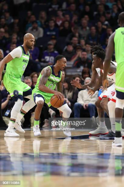 Jeff Teague of the Minnesota Timberwolves handles the ball against the Toronto Raptors on January 20 2018 at Target Center in Minneapolis Minnesota...
