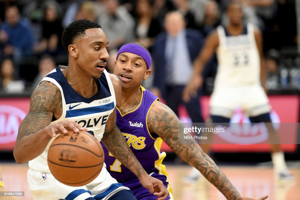 Jeff Teague #0 of the Minnesota Timberwolves handles the ball against the Los Angeles Lakers on February 15, 2018 at Target Center in Minneapolis, Minnesota.