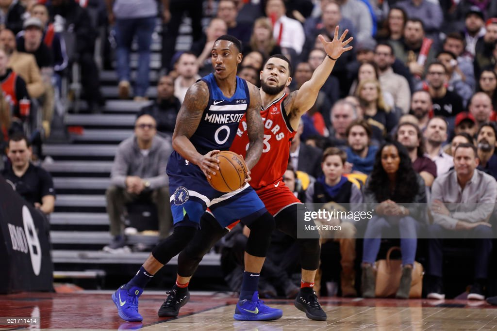 Jeff Teague #0 of the Minnesota Timberwolves handles the ball against Fred VanVleet #23 of the Toronto Raptors on January 30, 2018 at the Air Canada Centre in Toronto, Ontario, Canada.