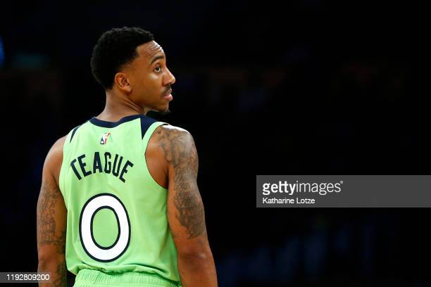 Jeff Teague of the Minnesota Timberwolves looks on during the fourth quarter against the Los Angeles Lakers at Staples Center on December 08 2019 in...