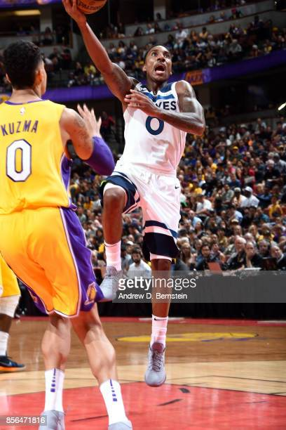 Jeff Teague of the Minnesota Timberwolves shoots a lay up during the game against the Los Angeles Lakers during the preseason game on September 30...