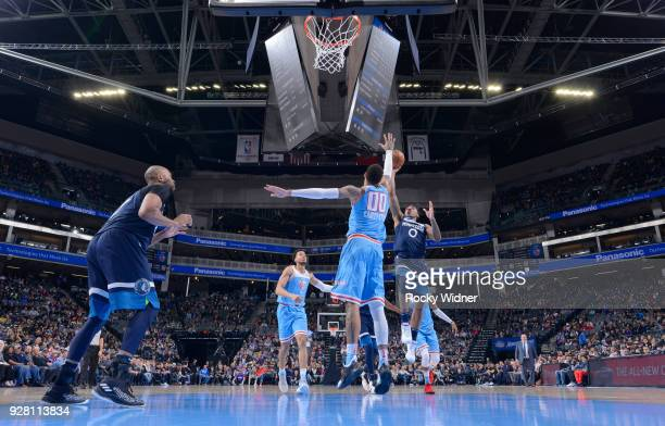 Jeff Teague of the Minnesota Timberwolves shoots againt the Sacramento Kings on February 26 2018 at Golden 1 Center in Sacramento California NOTE TO...
