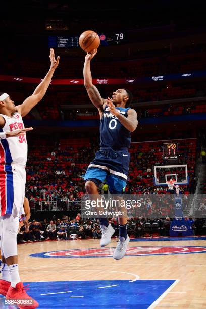 Jeff Teague of the Minnesota Timberwolves shoots the ball against the Detroit Pistons on October 25 2017 at Little Caesars Arena in Detroit Michigan...
