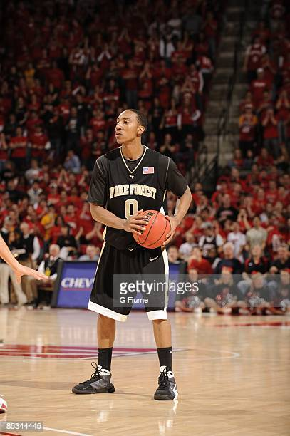 Jeff Teague of the Wake Forest Demon Deacons brings the ball up the court against the Maryland Terrapins at the Comcast Center on March 3 2009 in...