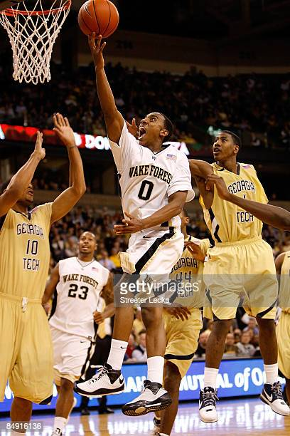 Jeff Teague of the Wake Forest Demon Deacons goes to the basket against the Georgia Tech Yellow Jackets during their game at Lawrence Joel Coliseum...