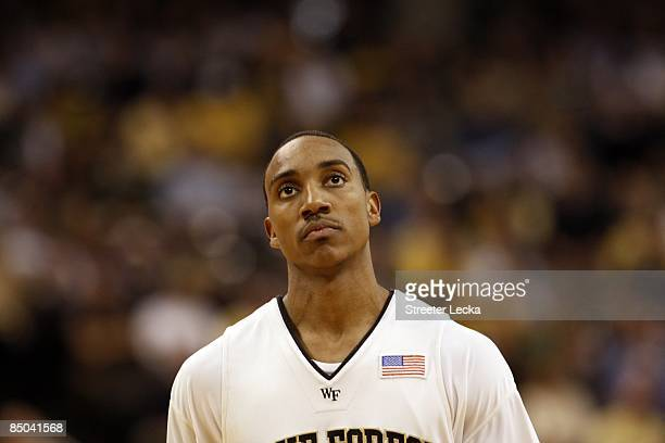 Jeff Teague of the Wake Forest Demon Deacons looks on during their game against the Georgia Tech Yellow Jackets at Lawrence Joel Coliseum on February...