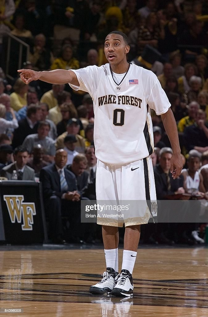 Jeff Teague #0 of the Wake Forest Demon Deacons points out a defensive assignment during the first half against the North Carolina Tar Heels at the LJVM Coliseum January 11, 2009 in Winston-Salem, North Carolina. The Demon Deacons defeated the Tar Heels 92-89.