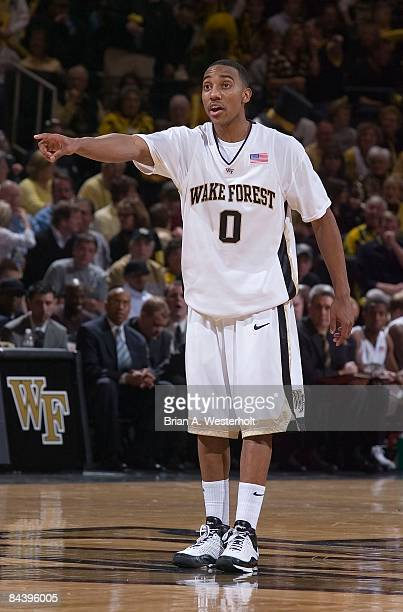 Jeff Teague of the Wake Forest Demon Deacons points out a defensive assignment during the first half against the North Carolina Tar Heels at the LJVM...