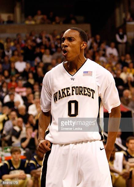 Jeff Teague of the Wake Forest Demon Deacons reacts to scoring a basket against the Georgia Tech Yellow Jackets during their game at Lawrence Joel...