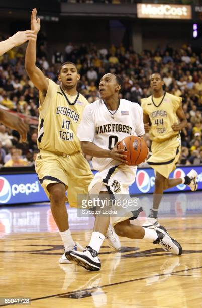 Jeff Teague of the Wake Forest Demon Deacons steps to the basket during their game against the Georgia Tech Yellow Jackets at Lawrence Joel Coliseum...