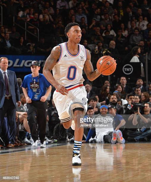 Jeff Teague playing for the East Coast allstars dribbles up the court during the 2015 NBA AllStar Game at Madison Square Garden on February 15 2015...