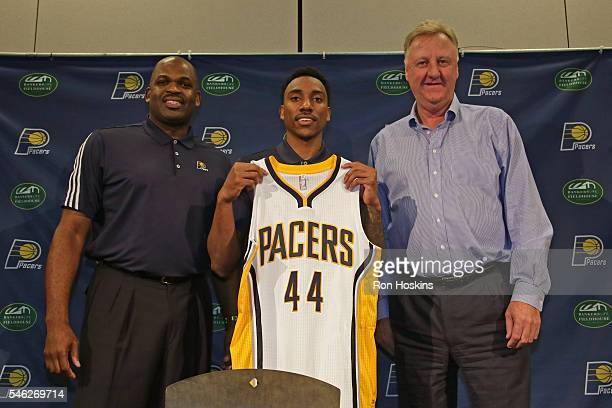Jeff Teague speaks with the media after being introduced by Larry Bird of the Indiana Pacers at Bankers Life Fieldhouse on July 11 2016 in...