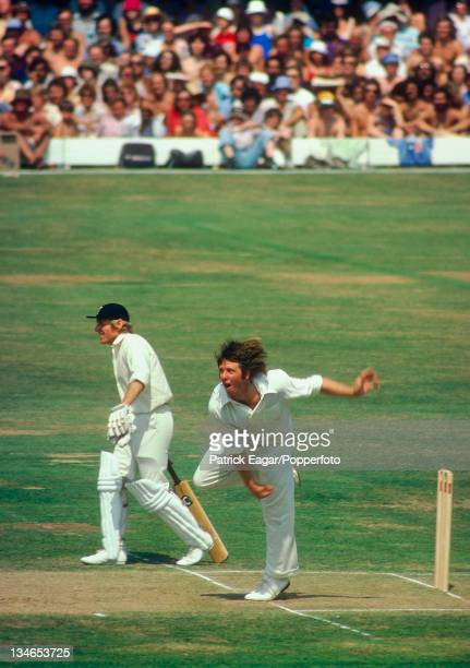 Jeff Thomson bowling; Barry Wood backing up, England v Australia, 2nd Test, Lord's, July 1975.