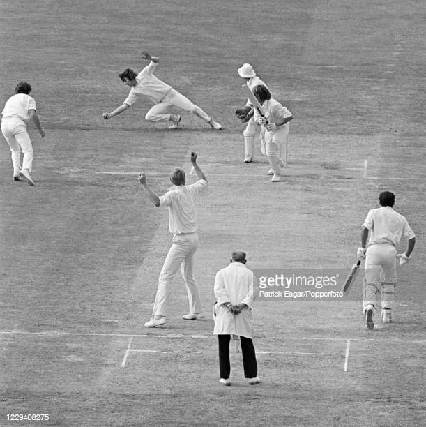 Jeff Thomson of Australia is caught for a first-ball duck by Chris Old of England off the bowling of Tony Greig during the 4th Test match between...