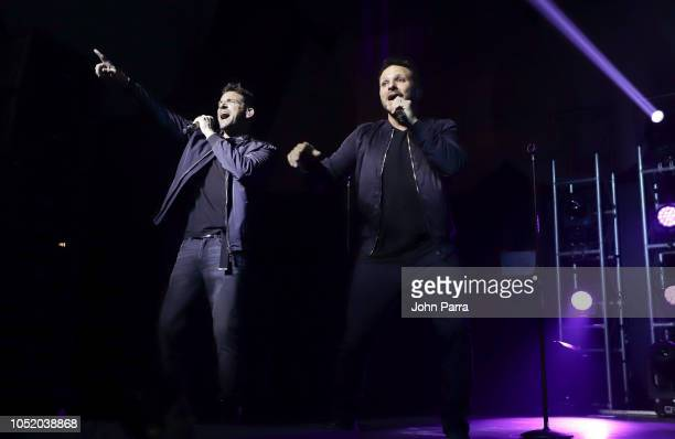 Jeff Timmons and Drew Lachey of 98 Degrees performs at Fountainbleau Miami Beach on October 12 2018 in Miami Beach Florida