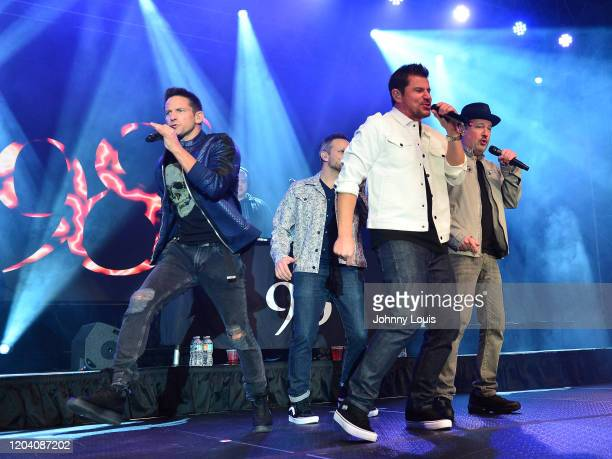 Jeff Timmons, Drew Lachey, Nick Lachey and Justin Jeffre of 98 Degrees perform on stage at Seminole Casino Coconut Creek on February 28, 2020 in...